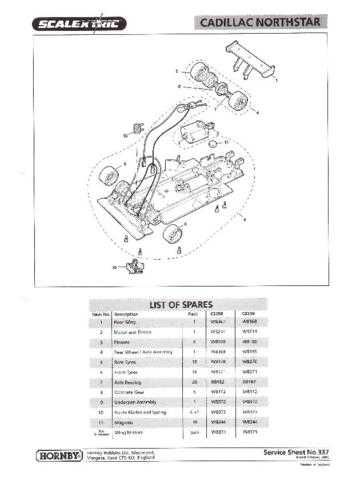 Scalextrix No.337 Cadillac Northstar Service Sheets by download Mauritron #2064