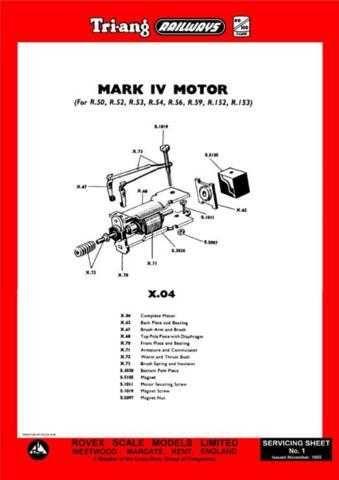 Triang Tri-ang No.001 Mark IV (X04) Motor Service Sheets by download Mauritron