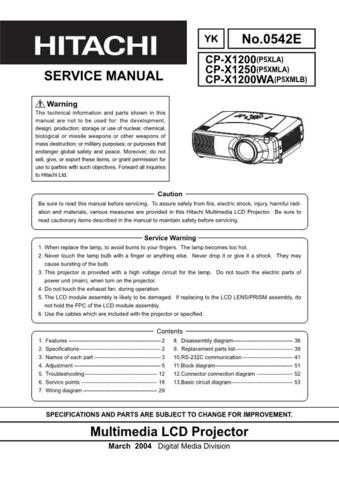Hitachi CPX1250 Service Manual Schematics by download Mauritron #205909