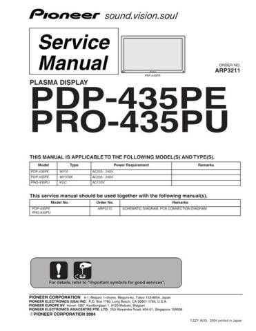 Pioneer PDP-434PU-TUCKXC[2[] (3) Service Manual by download Mauritron #235001