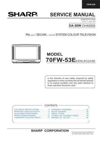 Sharp 70FW53E (1) Service Manual by download Mauritron #207930
