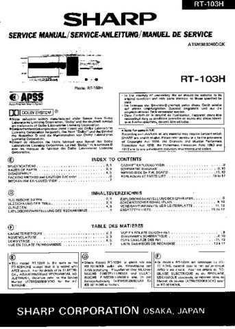 Sharp RT103H -DE-FR(1) Service Manual by download Mauritron #210294