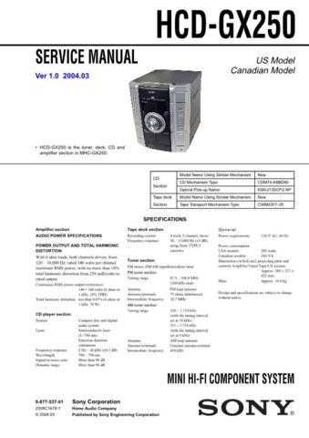 Sony HCD-GX25--1 Manual by download Mauritron #229161