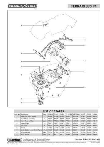 Scalextrix No.390E Ferrari 330 P4 Service Sheets by download Mauritron #206544