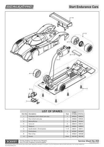 Scalextrix No.459 Start Endurance Cars Service Sheets by download Mauritron #20