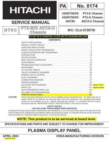 Hitachi 32HDT50 Service Manual Schematics by download Mauritron #205764
