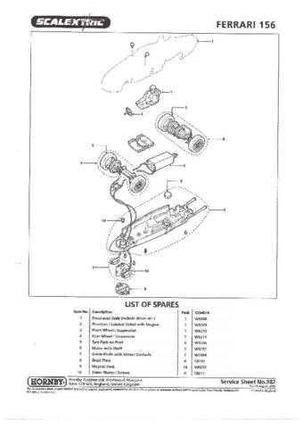 Scalextrix No.382 Ferrari 156 Service Sheets by download Mauritron #206530