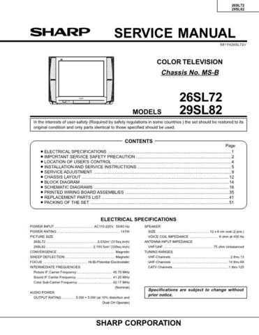 Sharp 26SL72 Service Manual by download Mauritron #207502