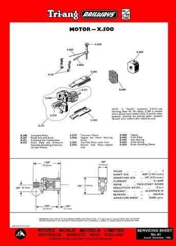 Triang Tri-ang No.041 Motor X500 Service Sheets by download Mauritron #206243