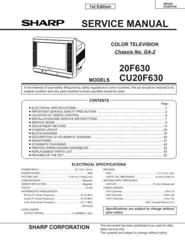 Sharp 20F630 Service Manual by download Mauritron #207420