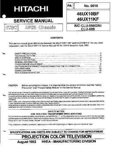 Hitachi 46UX11KF Service Manual by download Mauritron #207239