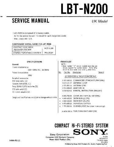 Sony LBT-N200 Manual by download Mauritron #229604