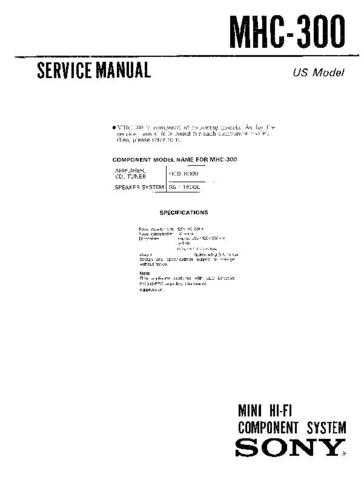 Sony MHC-331 Service Manual. by download Mauritron #242807