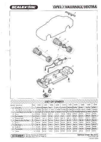 Scalextrix No.307C Opel Vauxhall Vectra Service Sheets by download Mauritron #2