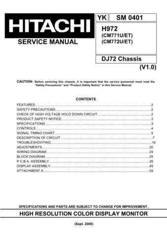 Hitachi CM771U Service Manual Schematics by download Mauritron #205880