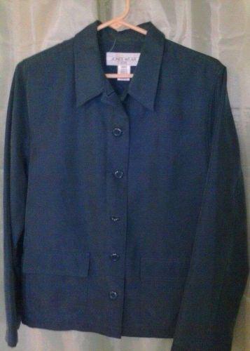 Women's Jones Wear Dark Green/Teal Blouse Size 12p ~