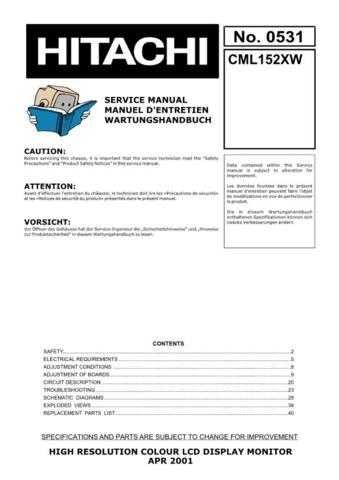 Hitachi CML152XW Service Manual by download Mauritron #260709