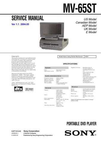 Sony MV-101 Service Manual. by download Mauritron #242964
