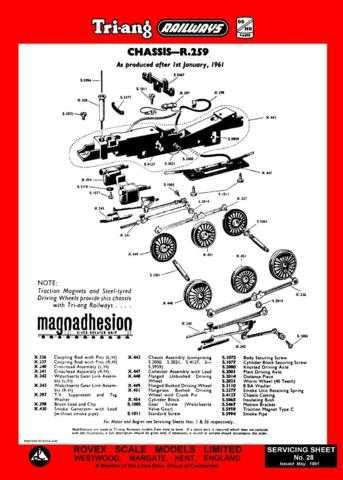 Triang Tri-ang No.028 Chassis R259 Service Sheets by download Mauritron #206227