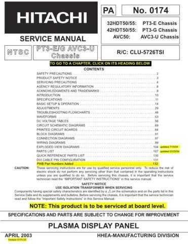 Hitachi 32HDT55 Service Manual Schematics by download Mauritron #205765