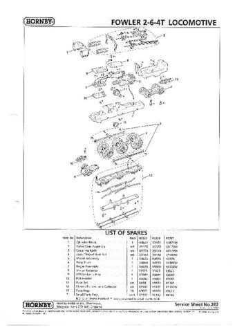 Hornby No.262 Class 4P Fowler 2-6-4T Service Sheets by download Mauritron #2070