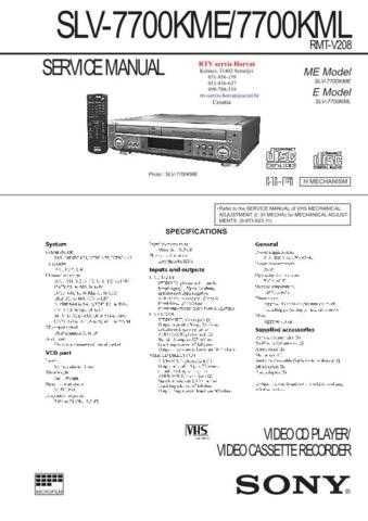 SONY SLV7700 Technical Info by download #104843