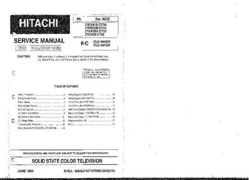 Hitachi 31DX22B Service Manual Schematics by download Mauritron #205741