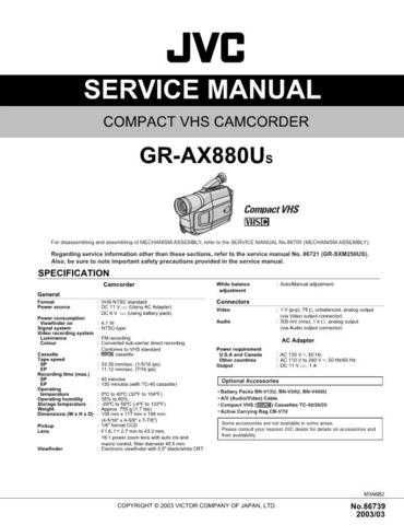 JVC GR-AX880US Service Manual Schematic Circuit. by download Mauritron #270519