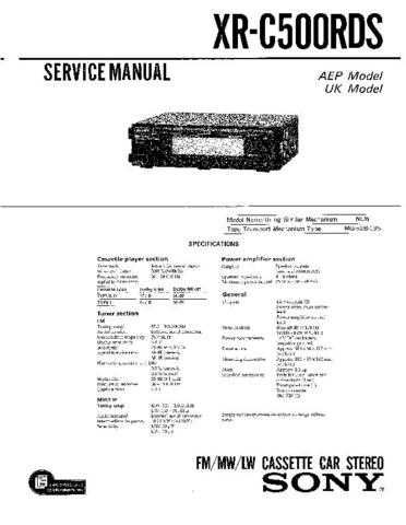 Sony XR-C4100 Service Manual. by download Mauritron #246179