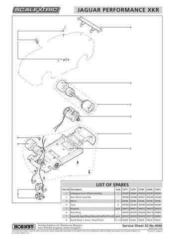 Scalextrix No.404E Jaguar Performance XKR Service Sheets by download Mauritron