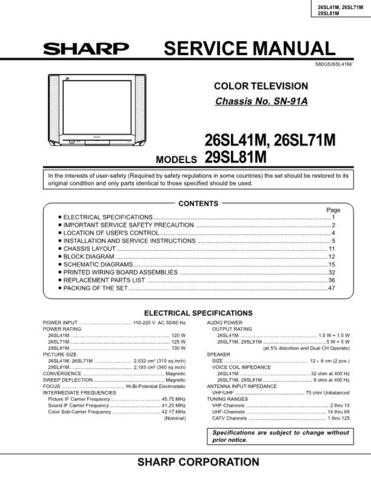 Sharp 26SL41M-26SL71M-29SL81M Service Manual by download Mauritron #207500