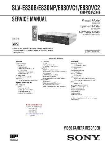 SONY SLVE830 Technical Info by download #104845