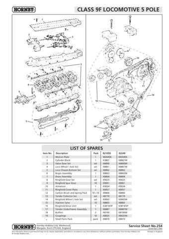 Hornby No.254 Class 9F - 5 Pole Service Sheets by download Mauritron #207004