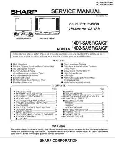 Sharp 14D1-D2SA-SF-GA-GF Service Manual by download Mauritron #207340