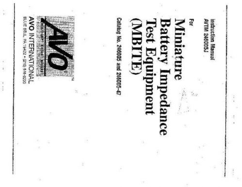 Megger 247000 Series Operating Guide by download Mauritron #310044