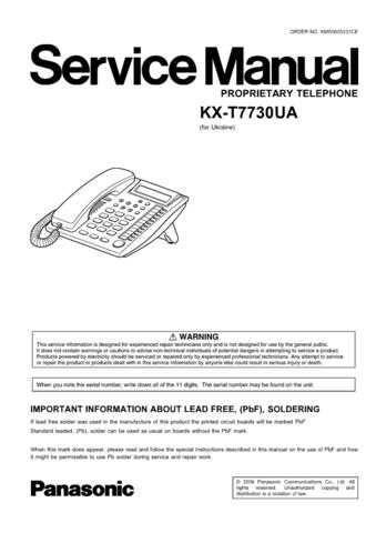 Panasonic T7730UA Manual by download Mauritron #301800