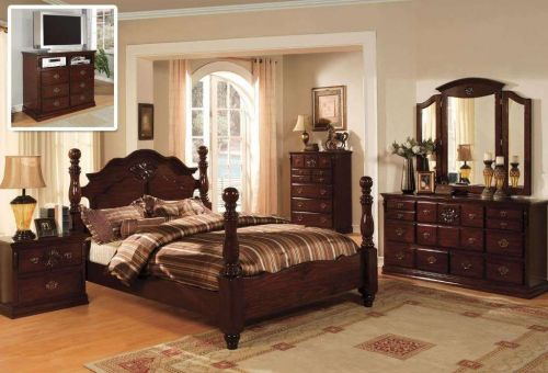Classic Italian Style Queen King 4 Pc Set Bedroom Antique Furnitur Tucson CM7571