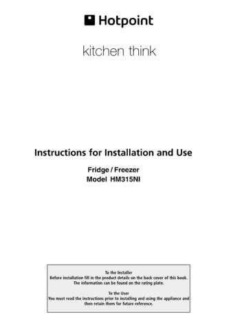 Hotpoint HM315NI 19505293200 Refrigeration Operating Guide by download Mauritron #313
