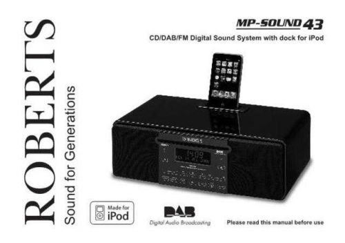 Roberts SOUND43 DAB Radio Operating Instruction Guide by download Mauritron #306696