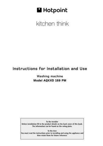 Hotpoint AQXXD169PM 19505644201 Laundry Operating Guide by download Mauritron #313472