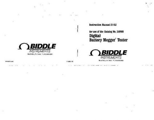 Biddle 210189 Operating Guide by download Mauritron #309256