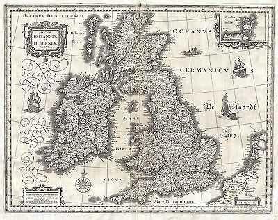 VINTAGE 1631 MAP OF THE BRITISH ISLES,ENGLAND,SCOTLAND,IRELAND,GEOGRAPHICUS