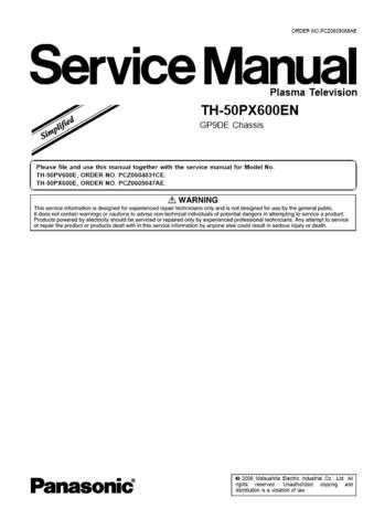 Panasonic TH-50PX600EN_V3_PCZ0608068AE Manual by download Mauritron #302390