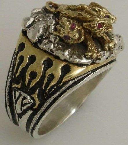 Cerberus Three Headed Hades Hellhound Guardian Ring Sterling silver Lge