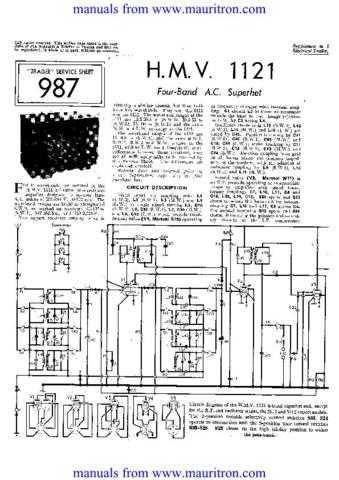 HMV. 1121. Service Sheets Set. by download Mauritron #306050