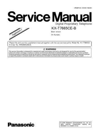 Panasonic T7665CEB_SUP1 Manual by download Mauritron #301791