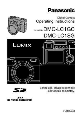 Panasonic DMC-LC1EB Manual by download Mauritron #298825