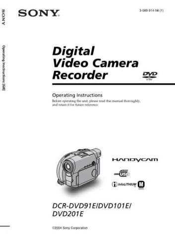 Sony DCRDVD91E DCRDVD101E DCRDVD201E Video Camera Operating Guide (2) by download Mau