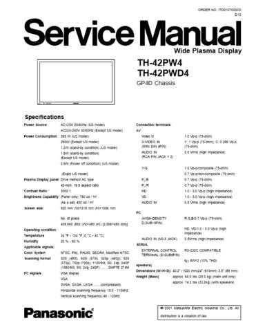 Panasonic TH-42PWD4RESUMIDO Manual by download Mauritron #302375