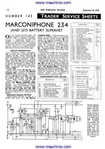MARCONI. 257. Vintage. Service Information. Manual by download Mauritron #312537